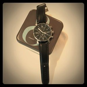 Fossil black leather watch